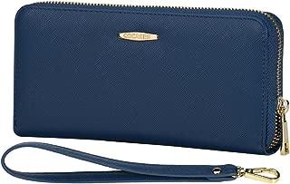 Women Wallet, COCASES RFID Blocking PU Leather Zipper Clutch Wallet Wristlet Wrist Strap