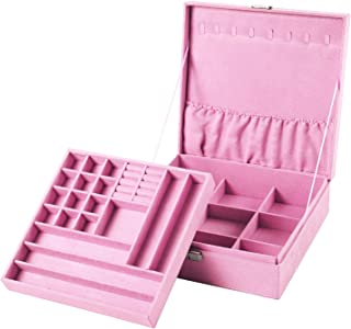 Sodynee Two-Layer Lint Jewelry Box Organizer Display Storage Case with Lock, Pink