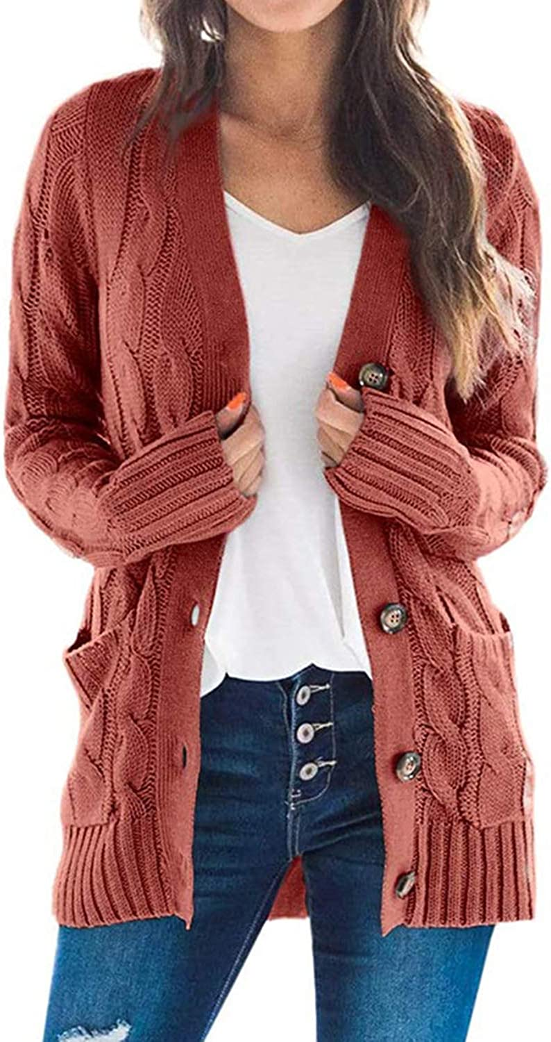 TOLENY Women's Button Down Long Sleeve Sweater Open Front Knitted Cardigan Loose Outerwear with Pockets