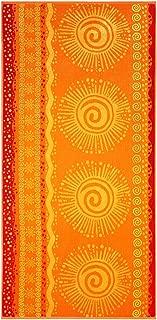 Cotton Craft - 2-Pack XL Jacquard Woven Velour Beach Towel - 39x68 inches - 100% Cotton - Sunshine Orange Yellow