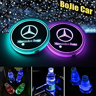 LED Car Logo Cup Holder Lights, 7 Colors Changing USB Charging Mat Luminescent Cup Pad, LED Interior Atmosphere Lamp Decor...