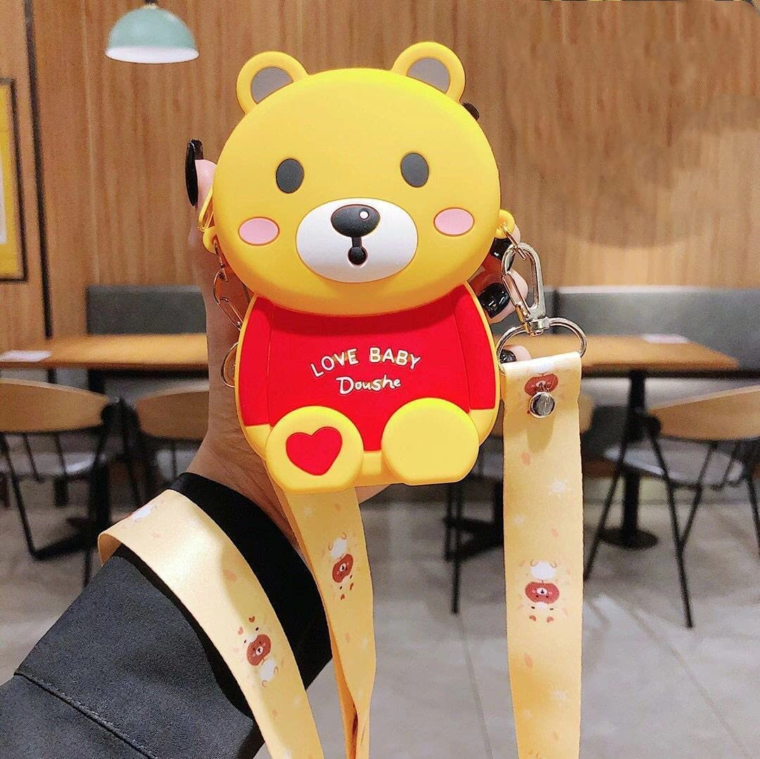 ISYSUII Cute Cartoon Design Case for iPhone 12 Pro Max 3D Bear Character Kawaii Girls Women Teens Soft Silicone Shockproof Rubber Cover Crossbody Card Holder Case with Kickstand,Yellow