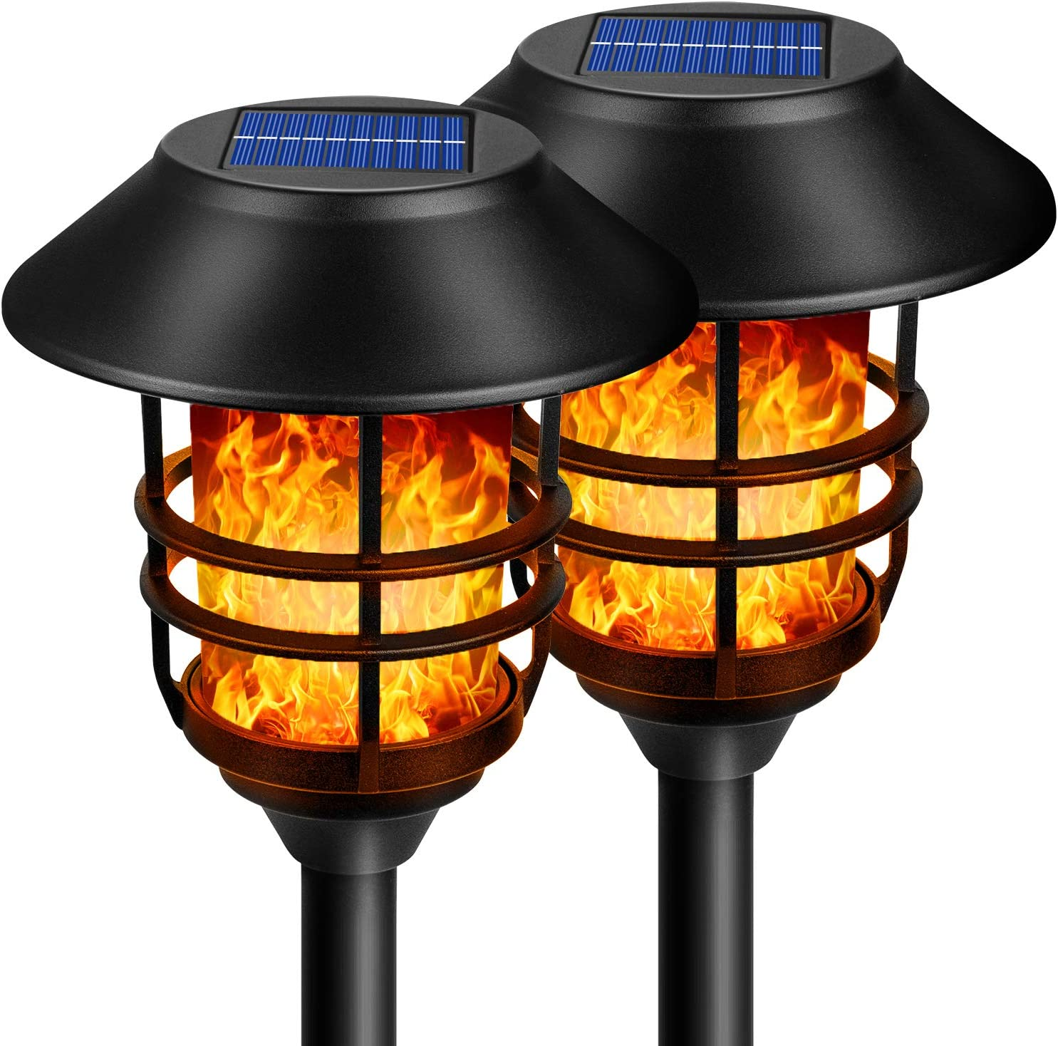 Sucisia Solar Torch Popular product Light 2 San Jose Mall Pack with for Flame 72LED Flickering