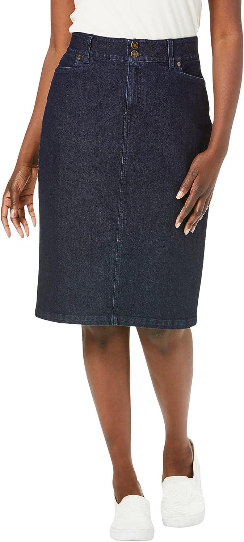 Jessica London Women's Plus Size Tummy Control Denim Skirt