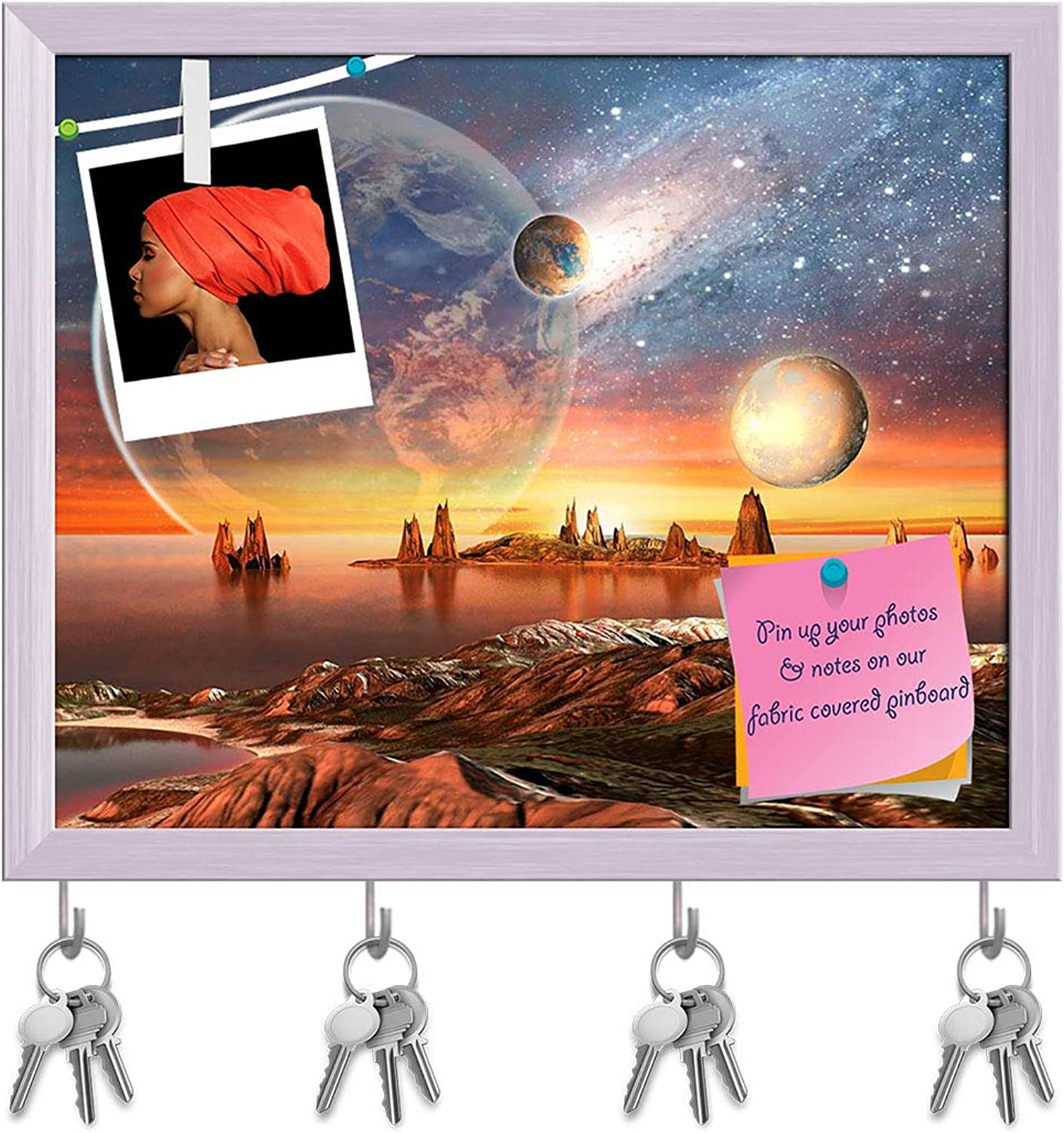 Artzfolio Alien Planet with Planets Key Holder Hooks   Notice Pin Board   White Frame 19.5 X 16Inch