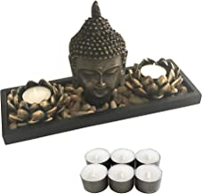 Zenbience Zen Buddha Candle Holder Statue Head, 6 Longer Lasting Soy Tealight Candles in Lotus, 100% More Rocks, Wooden Tr...