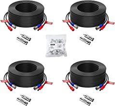 ZOSI 4 Pack 100ft (30 Meters) 2-in-1 Video Power Cable, BNC Extension Surveillance Camera..