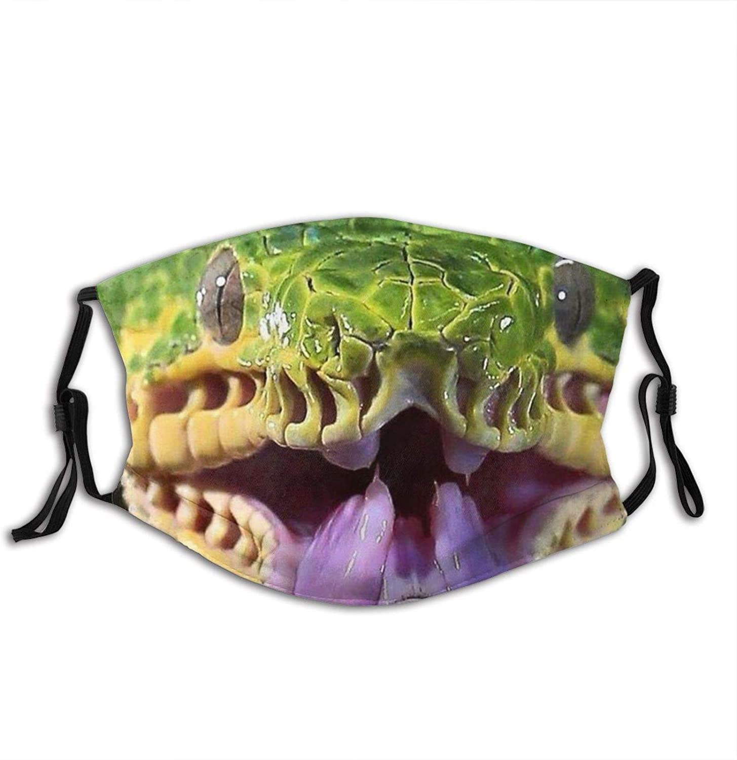 Scary Snake Animal Face Mask Washable Adjustable Balaclava Reusable Fashion Scarves For Unisex With 2 Pcs Filters