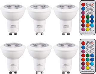 TORCHSTAR 3W Dimmable Multi-Color Spotlight Bulb, GU10 LED Bulbs, RGB + 2700K Soft White Mood Light Bulbs with 2 Remote Controls, Timing and Memory, for Decorative, Accent Lighting, Pack of 6