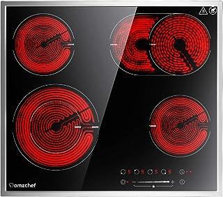 Plaque de cuisson vitroceramique, AMZCHEF plaque vitroceramique 4 feux avec 9 niveaux de puissance, zone de grillage, doub...