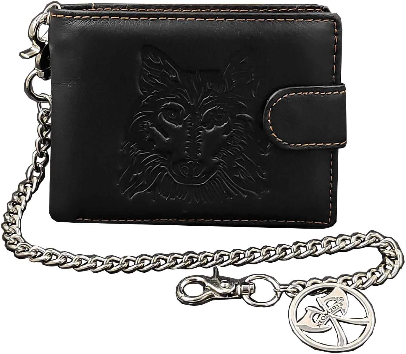 Wolf Design Leather Biker Card Momey Wallet with Jean Key Chain
