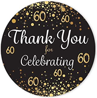 Black and Gold 60th Birthday Thank You Stickers - 1.75 in - 40 Labels