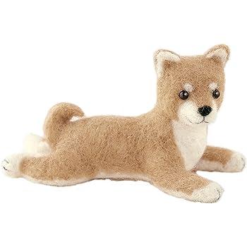 ハマナカ フェルト羊毛キット ふわふわ羊毛でつくる、フェルト犬 柴犬(ふせポーズ) H441-424 Designed by 須佐沙知子