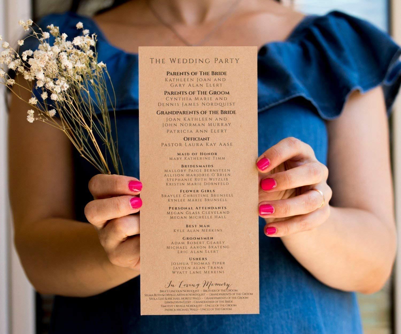 Max 86% OFF CUSTOM Wedding Program Rustic Ceremony Albuquerque Mall Order of