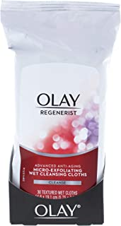 Makeup Remover Wipes by Olay Regenerist Micro-Exfoliating Wet Cleansing Cloths 30 Count (Pack of 3) Packaging may Vary