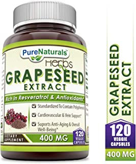 Pure Naturals Grapeseed Extract 400 Mg Veggie Capsules, 120Count, Standardize to Contain Polyphenols, Cardiovascular & Vein Support, Supports Anti-Aging & Overall Well-Being