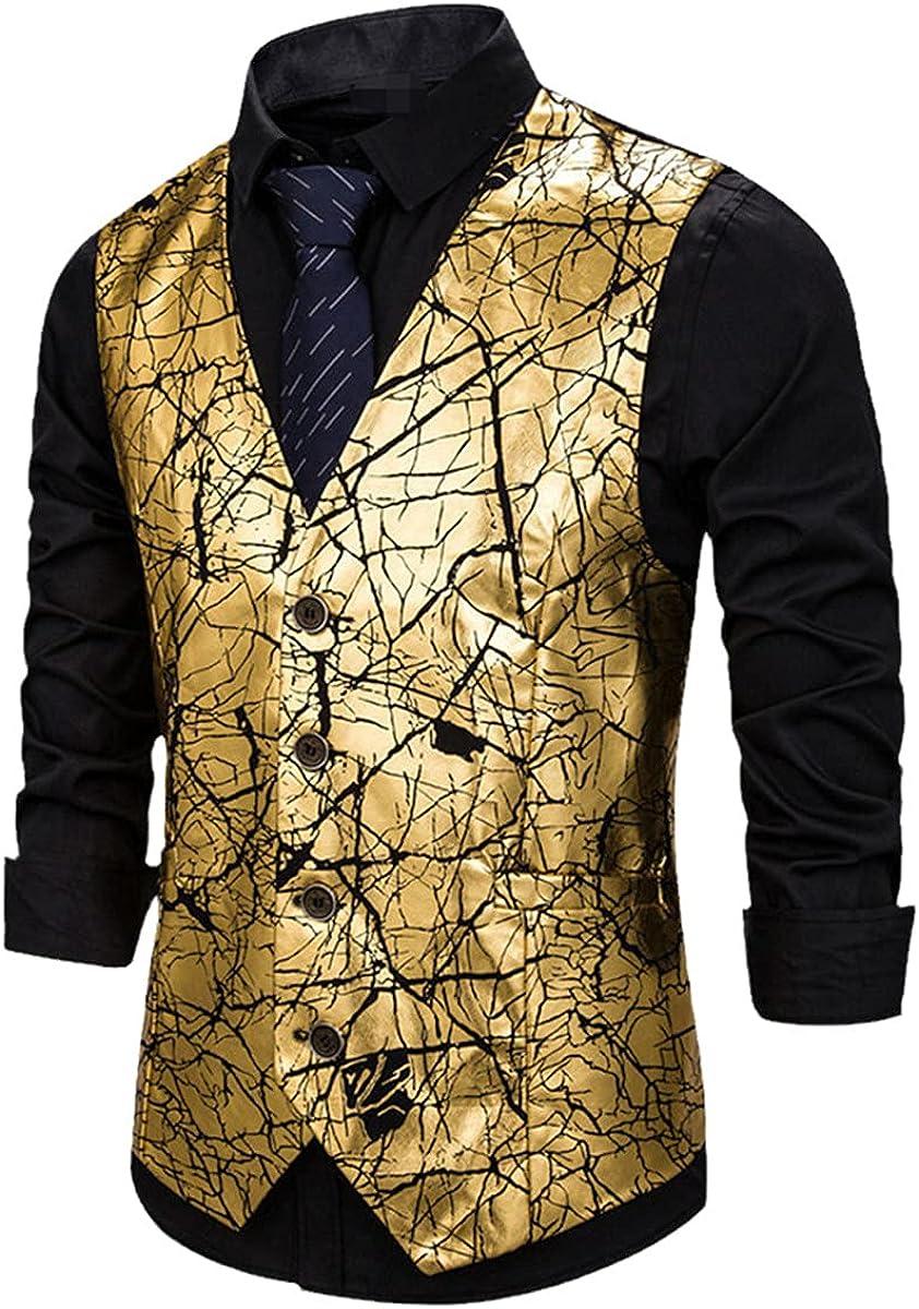 Men's gold crackle print men's vest casual clothing vest tall men's vest