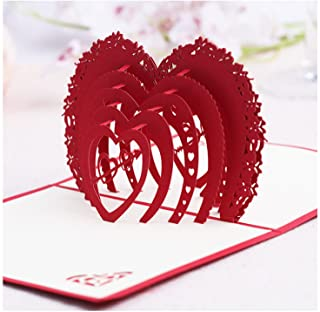 Nacodex Folded Pop Up 3D Greeting Cards Handmade Valentines Day Mother's Day Card, Springtime Card, Birthday Card for Mom, Wife, Kids, Boy, Girl, Friend (Valentine's Day- Red-1366)