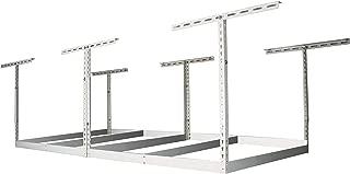 MonsterRax 4x8 Garage Storage Rack Without Decks – Height Adjustable Steel Overhead Storage Rack Frame Kit – 600 Pound Weight Capacity (White, 18