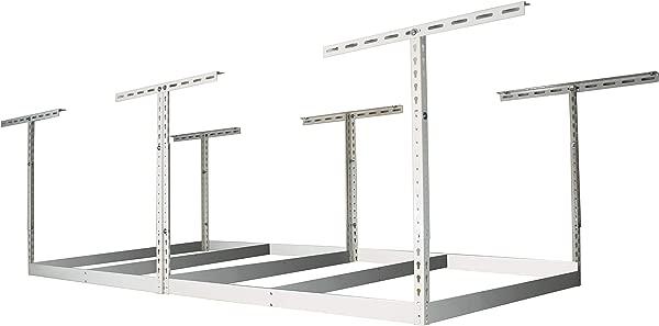 MonsterRax 4x8 Garage Storage Rack Height Adjustable Steel Overhead Storage Rack Frame Kit With Adjustable Height 600 Pound Weight Capacity White 24 45 Drop