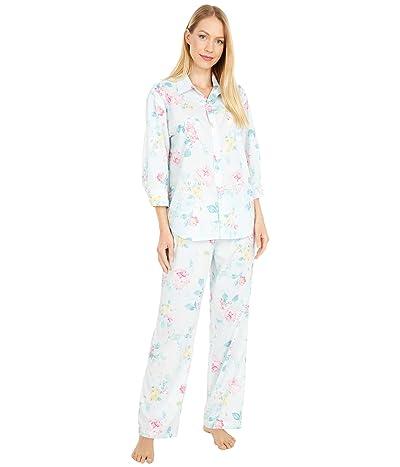 LAUREN Ralph Lauren Petite Woven Lawn 3/4 Sleeve Pointed Collar Long Pants Pajama Set (Mint Floral) Women