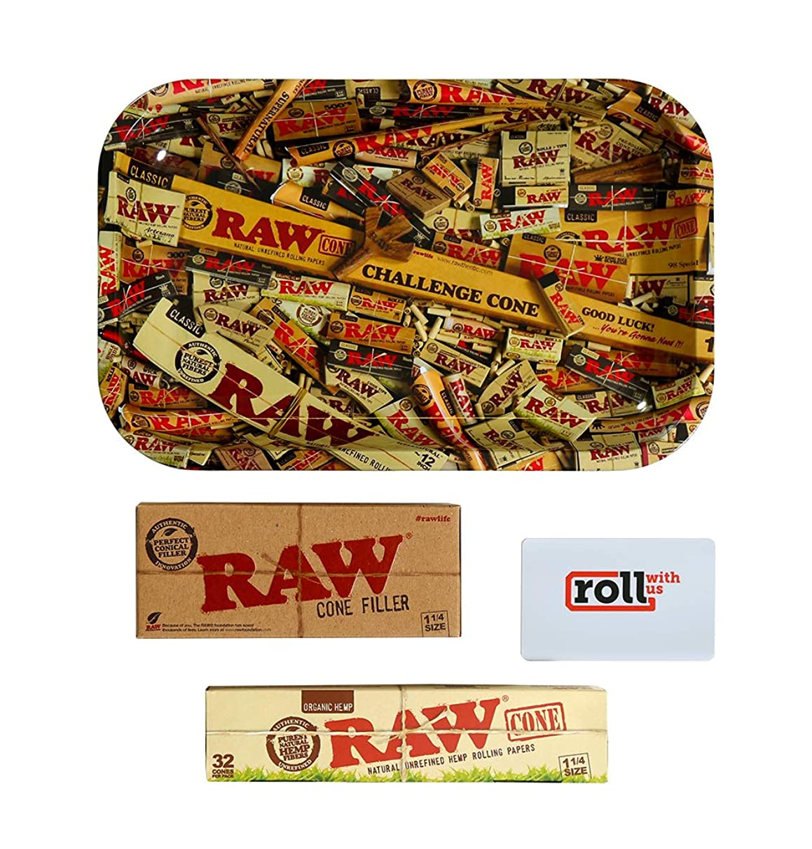 RAW Organic Unrefined Pre-Rolled Cone 32 Pack (1 1/4 Size) Starter Kit: Includes 32 Cones, RAW Loader, Raw Rolling Papers Tray and Roll with Us Scoop Card (Small Tray)