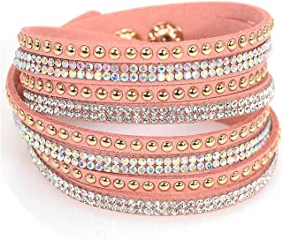 Peony red Double Wrap Leather Pave Crystal Bling Bracelets Multilayers Wrapped Rhinestones Bracelets Bling Bangle for Women Gift