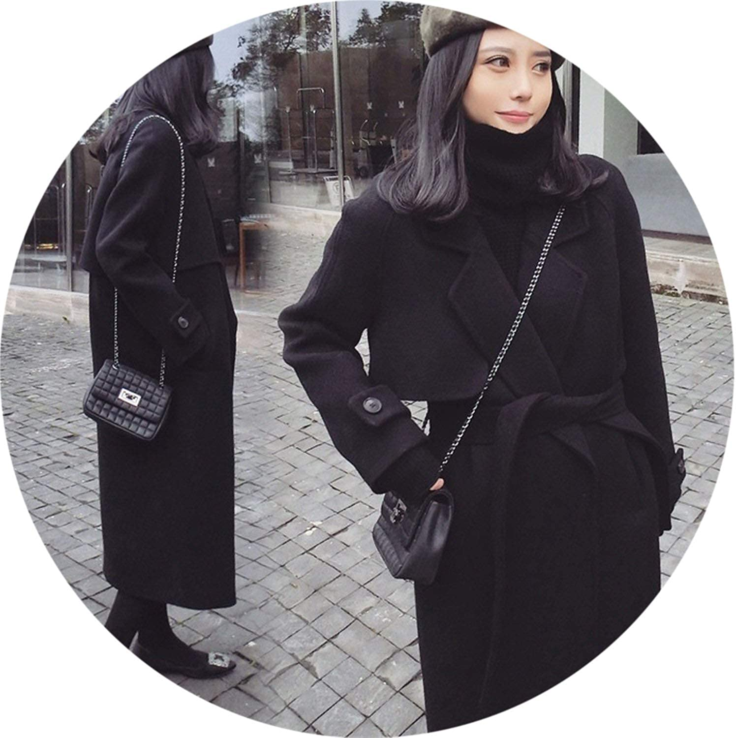 100Expectations fashion coat Women Autumn and Winter 2018 Korean Long Loose Oversized Woolen Coats