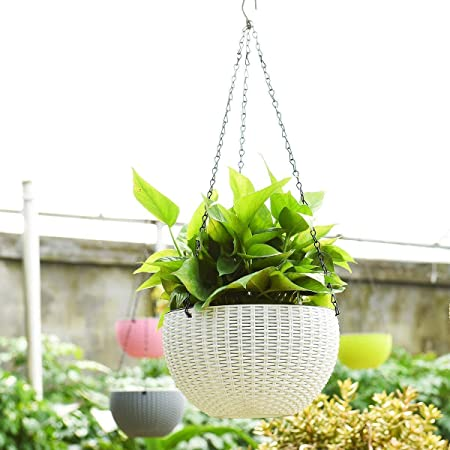 Trendy home Home Hanging Planters Plastic Pots Sanitized with Hanging Chains (Pack of 6) White Color