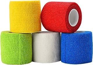 ATOMUS 5ロール 自着性テープ 弾性包帯 不織布 伸縮性 通気性, 使い捨て包帯 スポーツ用 医療用 刺青グリップ用, ランダムな色