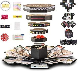 Creative Explosion Box 6 Faces Explosion Gift Box, Love Memory DIY Handmade Photo Album Scrapbook, Surprise Photo Album Box, Birthday Gift, Anniversary Gifts, Wedding or Valentine's Day Surprise Box