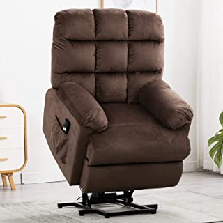 Bonzy Home Lift Power Recliner Chair Overstuffed - Velvet Fabric Electric Lift Recliner Chair - Home Theater Seating - Bedroom & Living Room Chair Recliner Sofa (Brown)