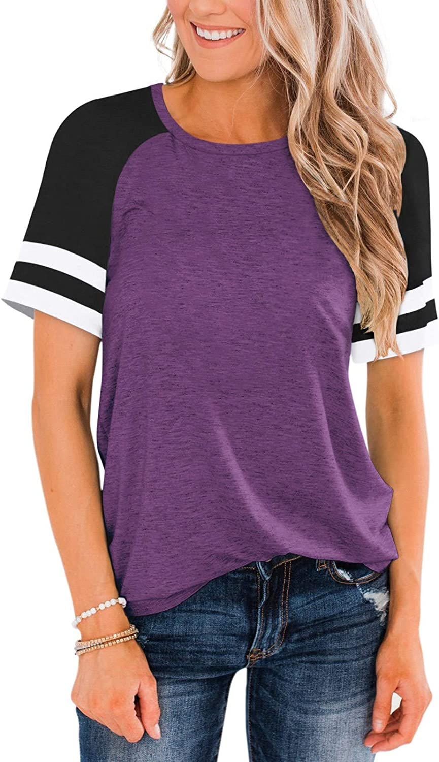Cyanstyle Womens Raglan Short Sleeve Crew Tees Shirts Same day shipping 25% OFF Color Neck