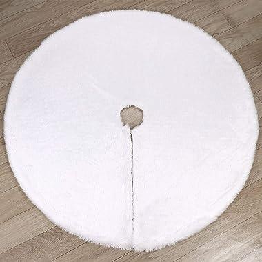 Vlovelife Tapise de sapin de Noël en fausse fourrure 122cm Blanc, Fourrure synthétique, blanc, 90 cm