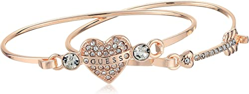 GUESS Women's Duo Tension Bangle Set with Heart and Arrow