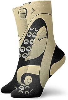 tyui7, Calcetines de compresión antideslizantes de pulpo de dibujos animados Calcetines deportivos acogedores de 30 cm para hombres, mujeres y niños