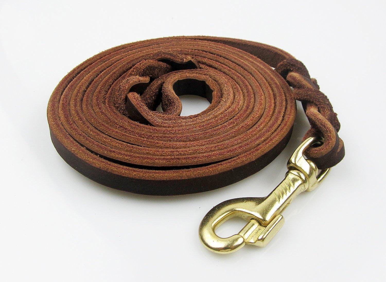 Rantow Durable Genuine Brown Leash con Classic Maniglia Braid e Metal Clamp per Grandi Cani Mediterrai, 260 cm x 1.2 cm, Collar *Harness Disponibile Separaty (Coppe)