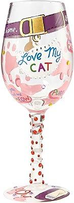 Enesco 6000023 Wine Glass Love My Cat, Multicolor