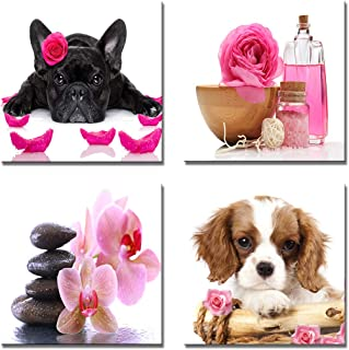 YPY 4 Panels Dogs Wall Art Decor Canine Pet Pink Roses Flowers Candles Spa Stones Orchid for Home Decoration (Pink, 12x12in)
