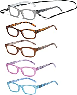 HILBALM Reading Glasses 5 Pairs Quality Readers Spring Hinge Glasses for Reading for Men and Women (5 Pack Mix Color, 2.00x Diopters)