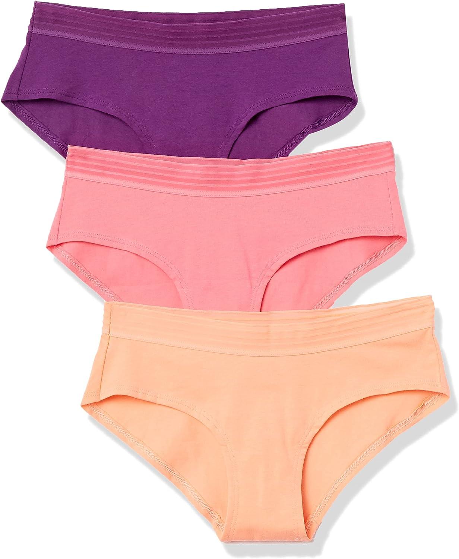 Amazon Brand - Mae Women's Sporty Cotton Hipster Underwear, 3 Pack