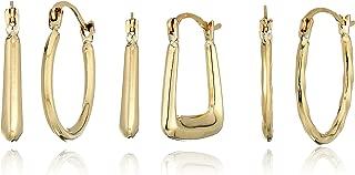 10k Yellow Gold Set of Three - Square Hoop/Oval Textured Hoop/Round Tube Hoop Earrings