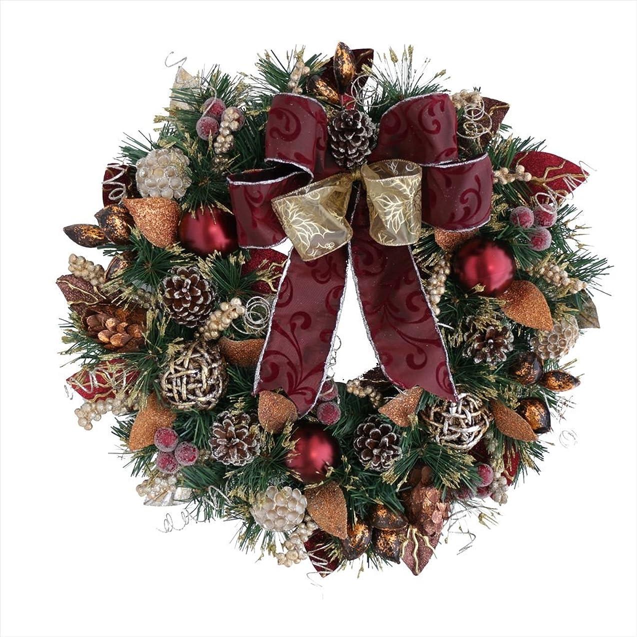 トンネル封筒オークランド彩か SAIKA 【クリスマス】 リース 金 白 ゴールド ホワイト デコレーション 飾り Red Fold Ribbon Wreath PXT-53r