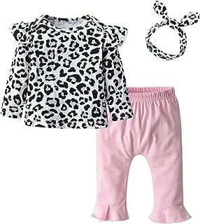 Baby Girl Long Sleeve Leopard T-Shirt Tops Pink Pants Headband Outfits Set