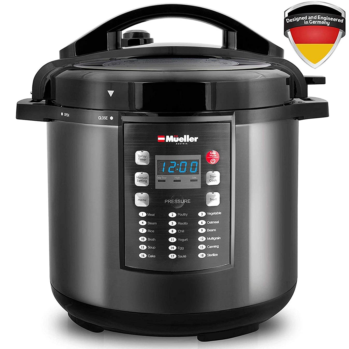 Pressure Cooker Instant Crock 10-in-1 Pot Pro Series 19 Program 6Q with German ThermaV Tech, Cook 2 Dishes at Once, BONUS TEMPERED GLASS LID, Saute, Steamer, Slow, Rice, Yogurt, Sterilizer