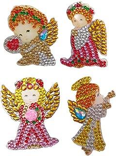 hullonguuo DIY Diamond Painting Keyring , Special Shaped Girl Angle Style Key Ring Diamond Painting Ornaments Pendants, Small Diamond Art for Kids and Adult Beginners (4pcs)