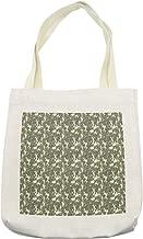Lunarable Botanical Tote Bag, Common Juniper Tree Branch Hand Drawn Art Illustration, Cloth Linen Reusable Bag for Shopping Books Beach and More, 16.5