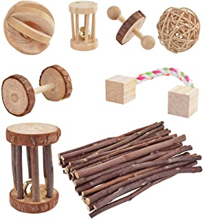 Wobe Pack of 8 Guinea Pig Toys Chinchilla Hamster Rat Toys, Bunny Gerbil Molar Wooden Natural Wooden Pine Dumbells Exercise Bell Roller Fun Pet Balls Small Pets Play Toy