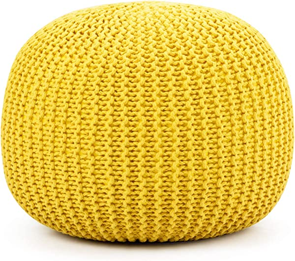 Giantex Pouf Round Knitted Hand Knitted Dori Cable W Handmade Cotton Braid Cord Home Decorative Seat For Guests Ideal For Living Room Bedroom Kid S Room Floor Ottoman Footrest Yellow