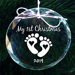2019 Babys First Christmas Ornament, New Baby Handmade Crystal Holiday Ornaments - COR012